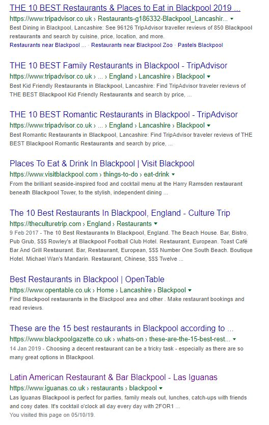 Blackpool Restaurants