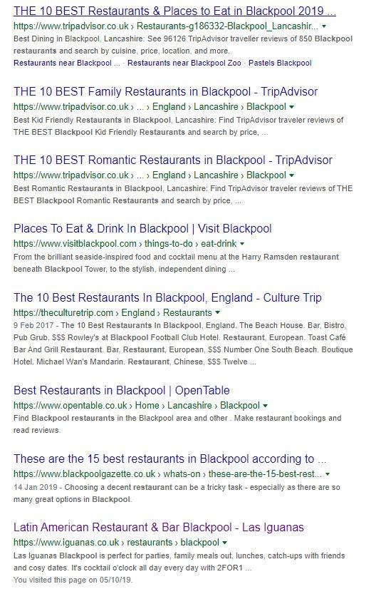 Blackpool Restaurants