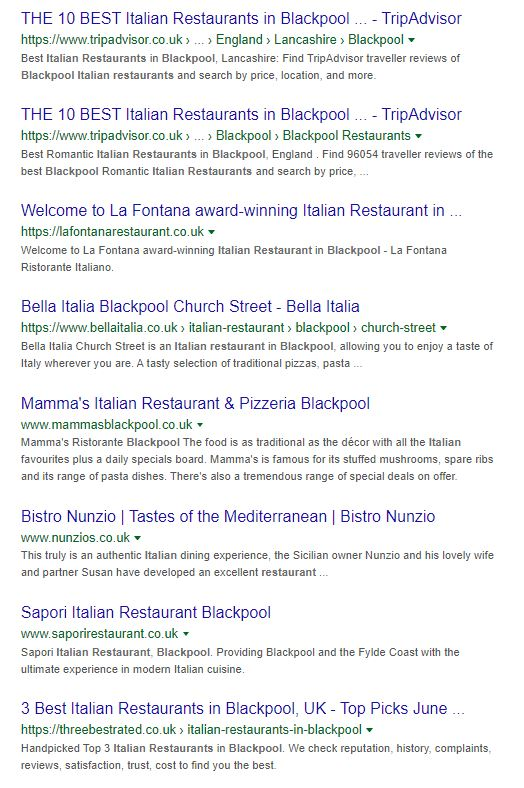 Italian Restaurant Blackpool